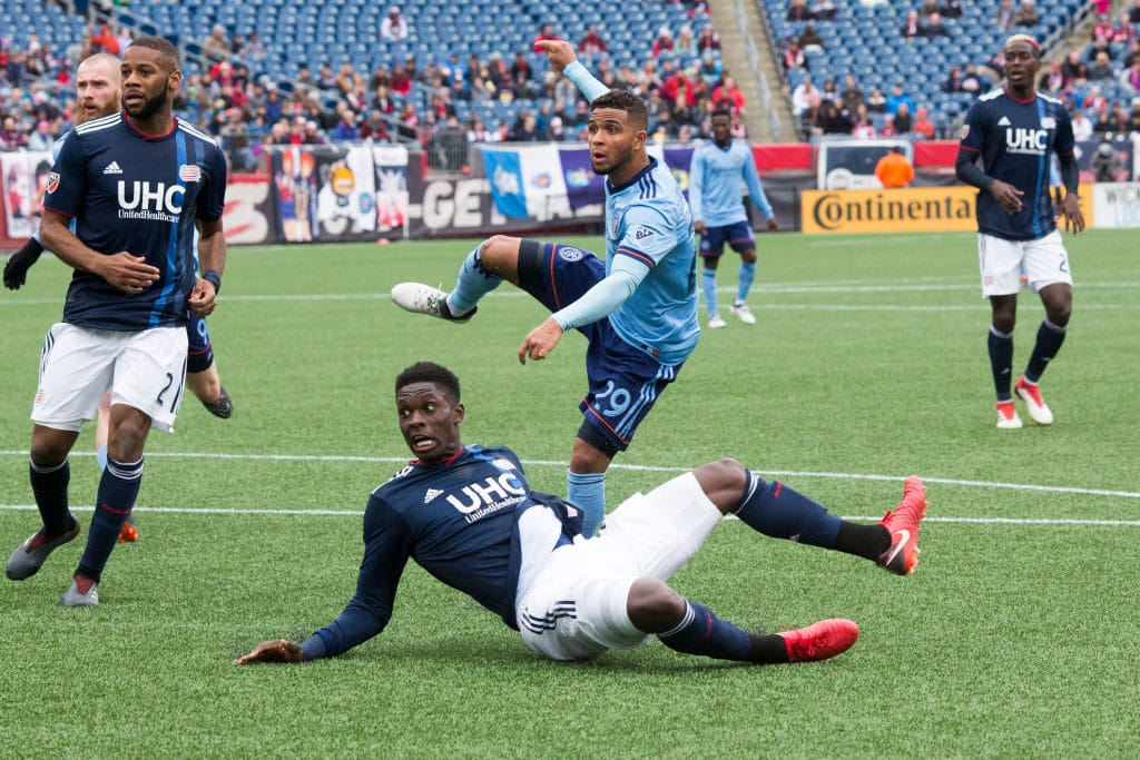 FOXBOROUGH, MASSACHUSETTS - March 24: Ismael Tajouri-Shradi #29 of New York City scores the second of his two goal during the 2-2 draw in the New England Revolution Vs New York City FC regular season MLS game at Gillette Stadium on March 24, 2018 in Foxborough, Massachusetts. (Photo by Tim Clayton/Corbis via Getty Images)