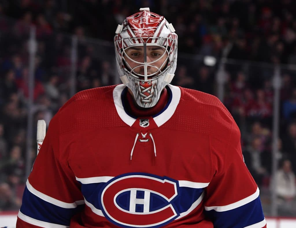 Mar 24, 2018; Montreal, Quebec, CAN; Montreal Canadiens goalie Carey Price (31) reacts after a goal scored by the Washington Capitals during the third period at the Bell Centre. Mandatory Credit: Eric Bolte-USA TODAY Sports