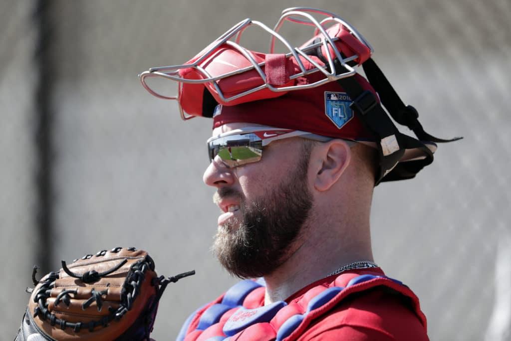 Philadelphia Phillies catcher Cameron Rupp works in the bullpen at baseball spring training camp, Thursday, Feb. 15, 2018, in Clearwater, Fla. (AP Photo/Lynne Sladky)