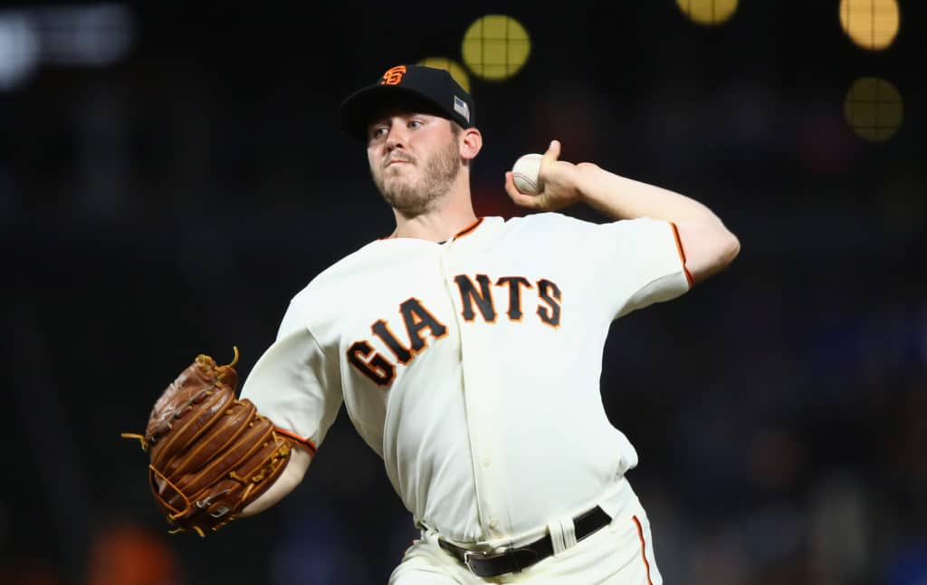 SAN FRANCISCO, CA - SEPTEMBER 11:  Ty Blach #50 of the San Francisco Giants pitches against the Los Angeles Dodgers in the first inning at AT&T Park on September 11, 2017 in San Francisco, California.  (Photo by Ezra Shaw/Getty Images)
