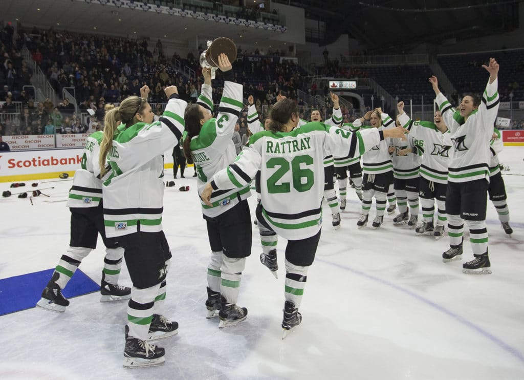 TORONTO -- The Markham Thunder celebrate after winning the Clarkson Cup final by a score of 2-1 over Kunlun Red Star in overtime at Ricoh Coliseum. March 25, 2018PHOTO: Chris Tanouye/The CWHL