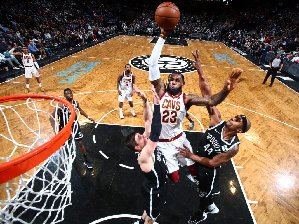 BROOKLYN, NY - MARCH 25:  LeBron James #23 of the Cleveland Cavaliers drives to the basket against the Brooklyn Nets on March 25, 2018 at Barclays Center in Brooklyn, New York. NOTE TO USER: User expressly acknowledges and agrees that, by downloading and or using this Photograph, user is consenting to the terms and conditions of the Getty Images License Agreement. Mandatory Copyright Notice: Copyright 2018 NBAE (Photo by Nathaniel S. Butler/NBAE via Getty Images)