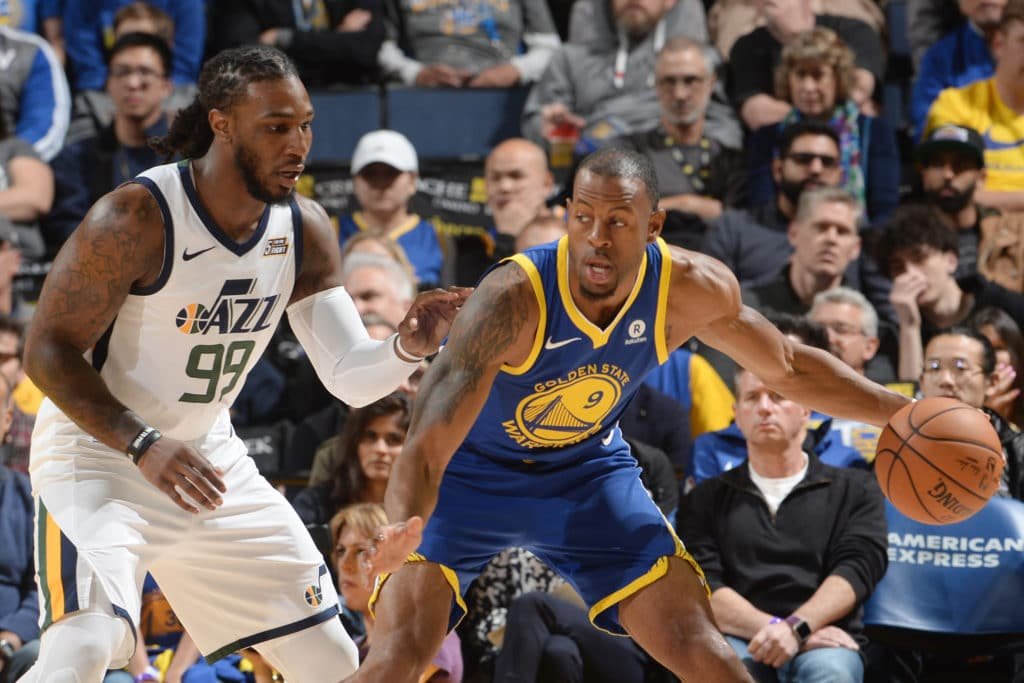 OAKLAND, CA - MARCH 25: Andre Iguodala #9 of the Golden State Warriors handles the ball during the game against the Utah Jazz on March 25, 2018 at ORACLE Arena in Oakland, California. NOTE TO USER: User expressly acknowledges and agrees that, by downloading and or using this photograph, user is consenting to the terms and conditions of Getty Images License Agreement. Mandatory Copyright Notice: Copyright 2018 NBAE (Photo by Noah Graham/NBAE via Getty Images)