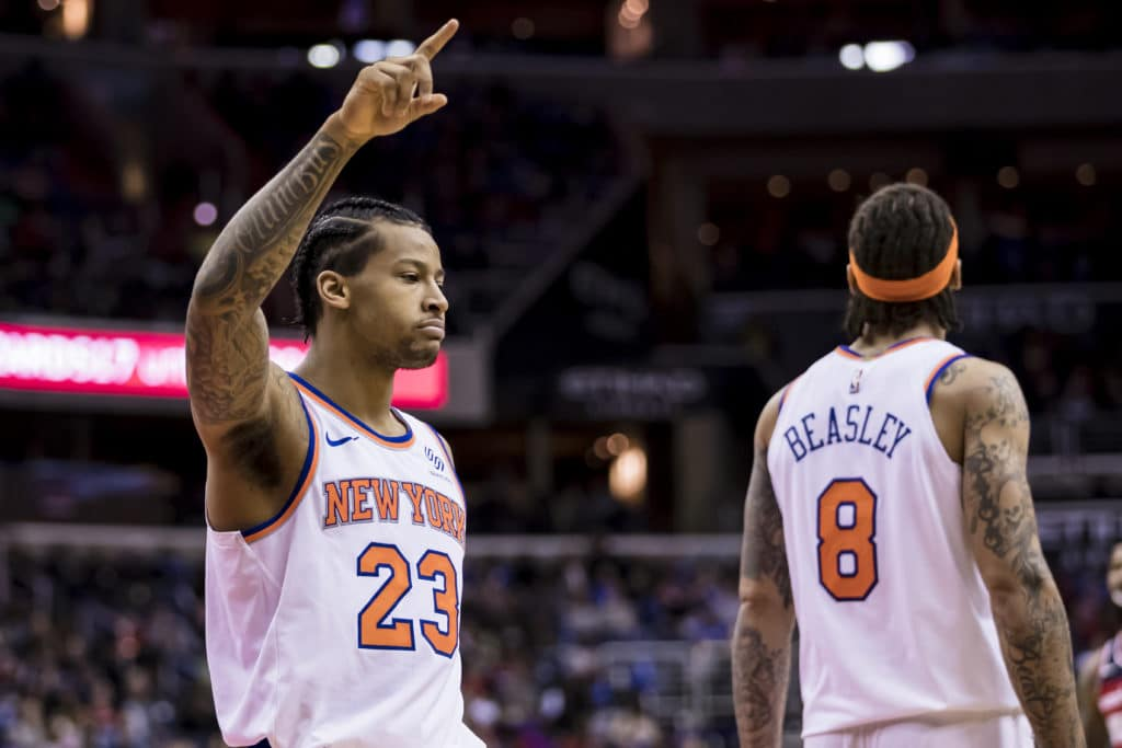 WASHINGTON, DC - MARCH 25: Trey Burke #23 of the New York Knicks reacts against the Washington Wizards during the second half at Capital One Arena on March 25, 2018 in Washington, DC. NOTE TO USER: User expressly acknowledges and agrees that, by downloading and or using this photograph, User is consenting to the terms and conditions of the Getty Images License Agreement. (Photo by Scott Taetsch/Getty Images)