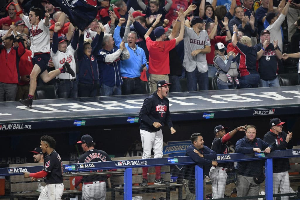 Oct 6, 2017; Cleveland, OH, USA; Cleveland Indians starting pitcher Trevor Bauer (47) celebrates after right fielder Jay Bruce (not pictured) hit a solo home run during the eighth inning in game two of the 2017 ALDS against the New York Yankees at Progressive Field. Mandatory Credit: David Richard-USA TODAY Sports