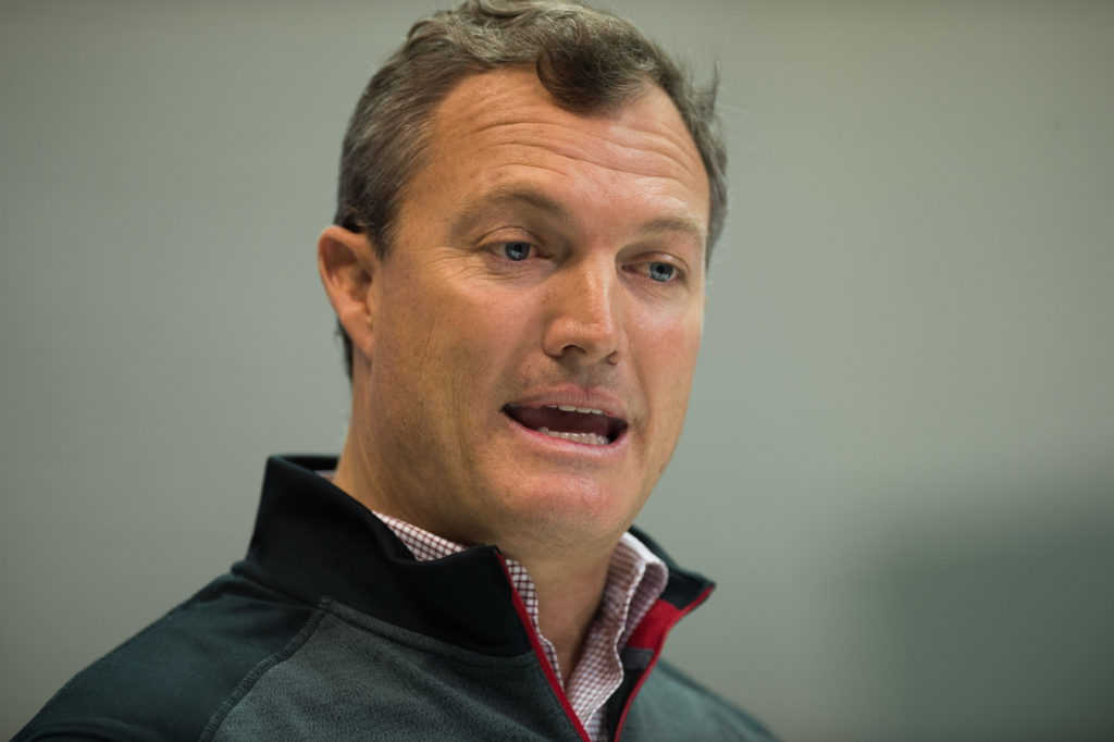 INDIANAPOLIS, IN - MARCH 01: San Francisco 49ers general manager John Lynch answers questions from the media during the NFL Scouting Combine on March 1, 2018 at the Indiana Convention Center in Indianapolis, IN. (Photo by Zach Bolinger/Icon Sportswire via Getty Images)