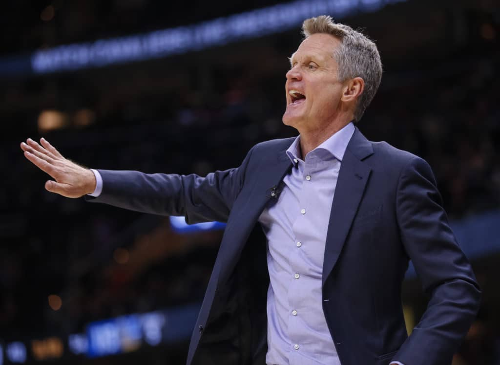 CLEVELAND, OH - JANUARY 15: Steve Kerr of the Golden State Warriors is seen during the game against the Cleveland Cavaliers at Quicken Loans Arena on January 15, 2018 in Cleveland, Ohio. NOTE TO USER: User expressly acknowledges and agrees that, by downloading and or using this photograph, User is consenting to the terms and conditions of the Getty Images License Agreement.(Photo by Michael Hickey/Getty Images)