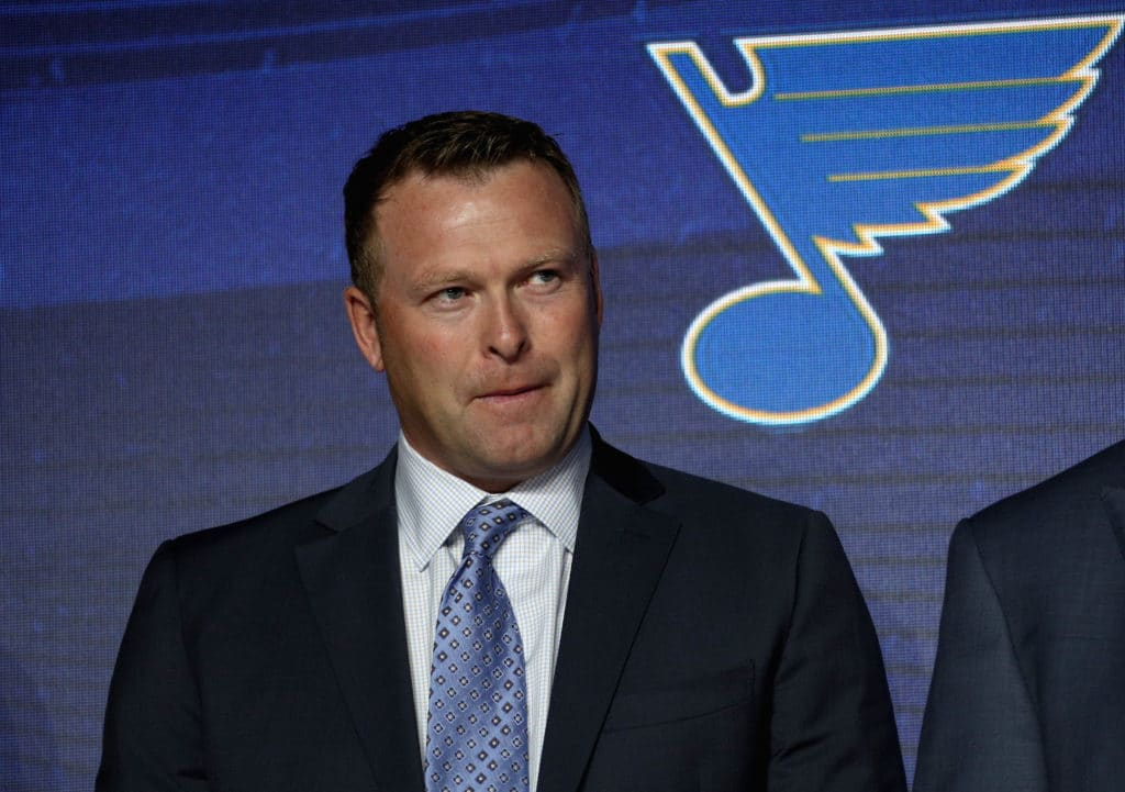CHICAGO, IL - JUNE 23:  Martin Brodeur of the St. Louis Blues stands onstgae before their pick during Round One of the 2017 NHL Draft at United Center on June 23, 2017 in Chicago, Illinois.  (Photo by Dave Sandford/NHLI via Getty Images)