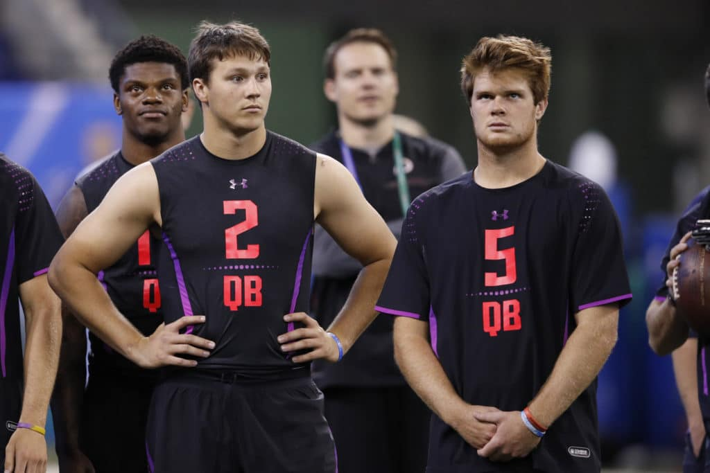 INDIANAPOLIS, IN - MARCH 03: USC quarterback Sam Darnold (right) and Wyoming quarterback Josh Allen look on during the NFL Combine at Lucas Oil Stadium on March 3, 2018 in Indianapolis, Indiana. (Photo by Joe Robbins/Getty Images)