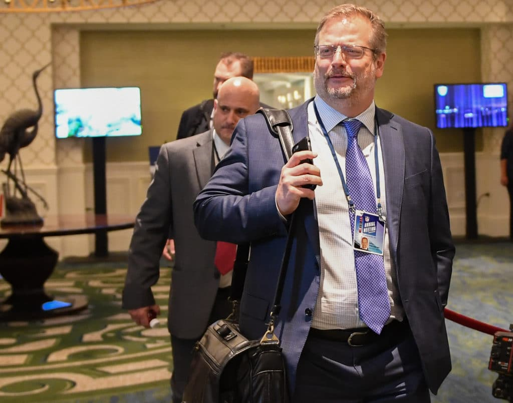 ORLANDO, FL - MARCH 26: New York Jets General Manager Mike Maccagnan attends the 2018 NFL Annual Meetings at the Ritz Carlton Orlando, Great Lakes on March 26, 2018 in Orlando, Florida. (Photo by B51/Mark Brown/Getty Images)