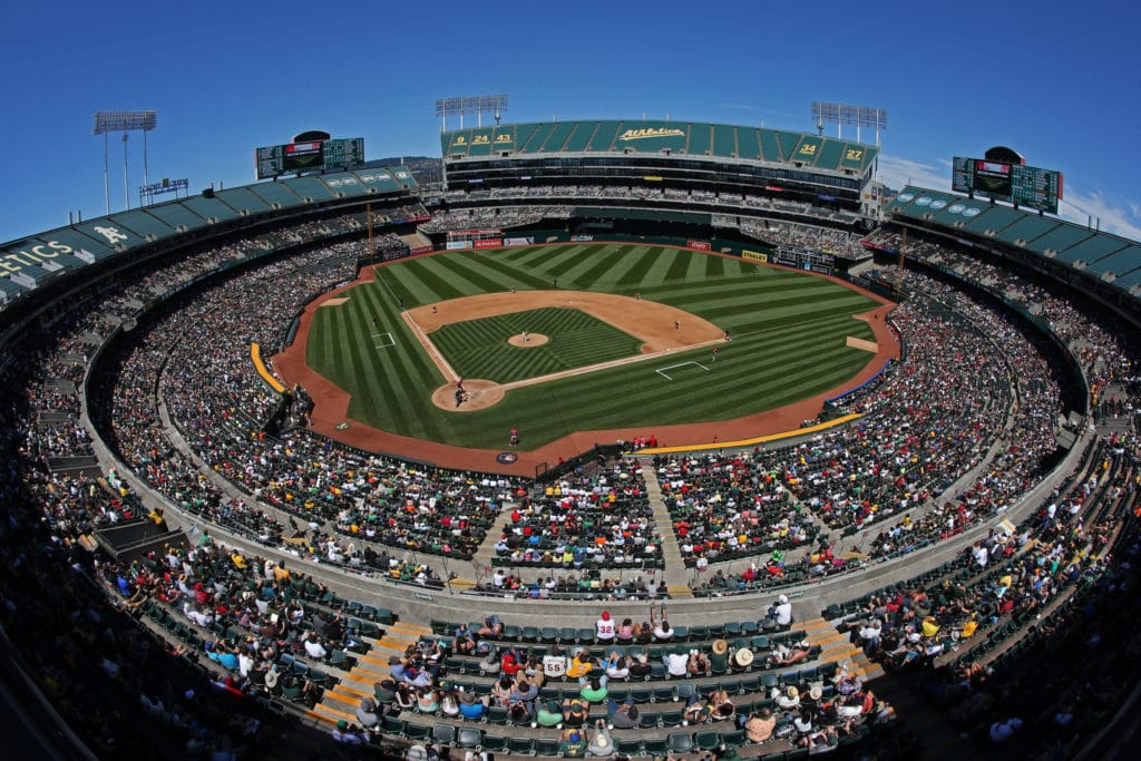 OAKLAND, CA - JUNE 18:  General overall interior wide angle view during the game between the Los Angeles Angels of Anaheim and Oakland Athletics at the Oakland Coliseum on Saturday, June 18, 2016 in Oakland, California. (Photo by Brad Mangin/MLB Photos via Getty Images) *** Local Caption ***