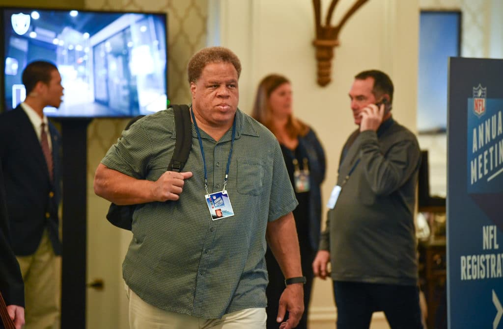 ORLANDO, FL - MARCH 26:  Oakland Raiders General Manager Reggie McKenzie attends the 2018 NFL Annual Meetings at the Ritz Carlton Orlando, Great Lakes on March 26, 2018 in Orlando, Florida. (Photo by B51/Mark Brown/Getty Images)