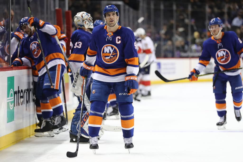 NEW YORK, NY - MARCH 26:  John Tavares #91 of the New York Islanders reacts in the third period against the Florida Panthers during their game at Barclays Center on March 26, 2018 in the Brooklyn borough of New York City.  (Photo by Abbie Parr/Getty Images)