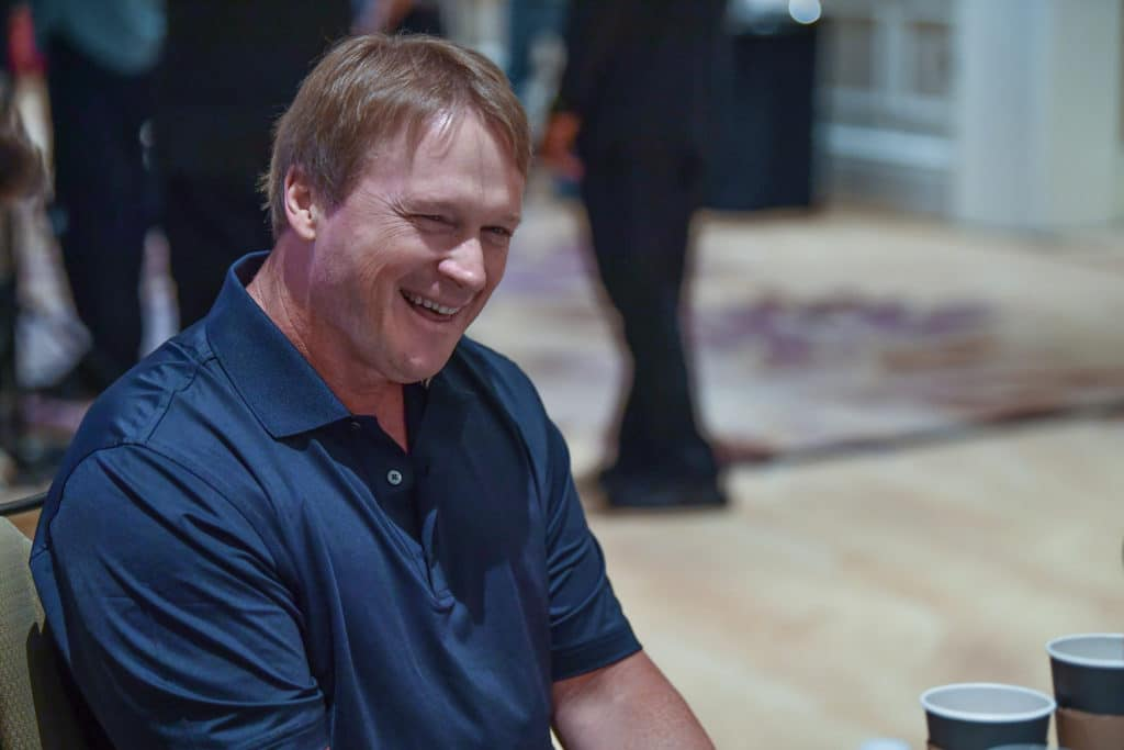 ORLANDO, FL - MARCH 27: Oakland Raiders head coach Jon Gruden answers questions during the AFC & NFC coaches breakfast at the 2018 NFL Annual Meetings at the Ritz Carlton Orlando, Great Lakes on March 27, 2018 in Orlando, Florida. (Photo by B51/Mark Brown/Getty Images)