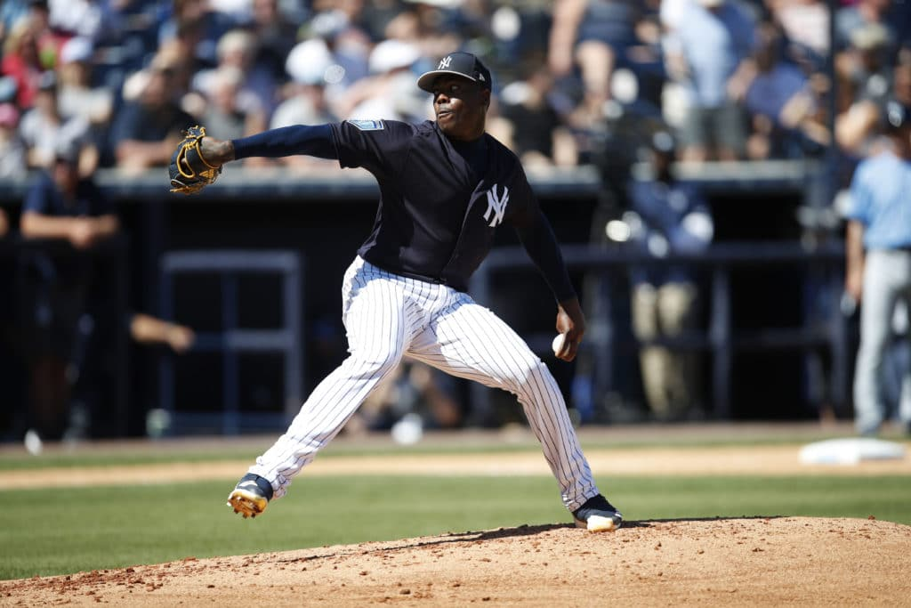 TAMPA, FL - MARCH 04: Aroldis Chapman #54 of the New York Yankees in action during a spring training game against the Tampa Bay Rays at George M. Steinbrenner Field on March 04, 2018 in Tampa, Florida. (Photo by Mike McGinnis/Getty Images)
