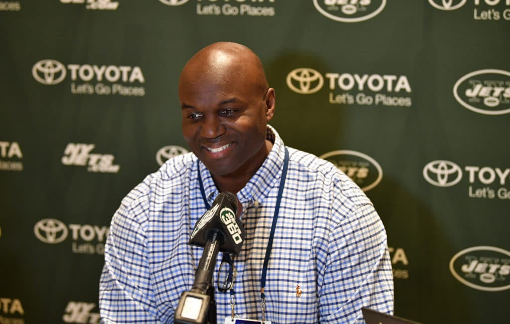 ORLANDO, FL - MARCH 27: New York Jets head coach Todd Bowles answers questions during the AFC & NFC coaches breakfast at the 2018 NFL Annual Meetings at the Ritz Carlton Orlando, Great Lakes on March 27, 2018 in Orlando, Florida. (Photo by B51/Mark Brown/Getty Images)