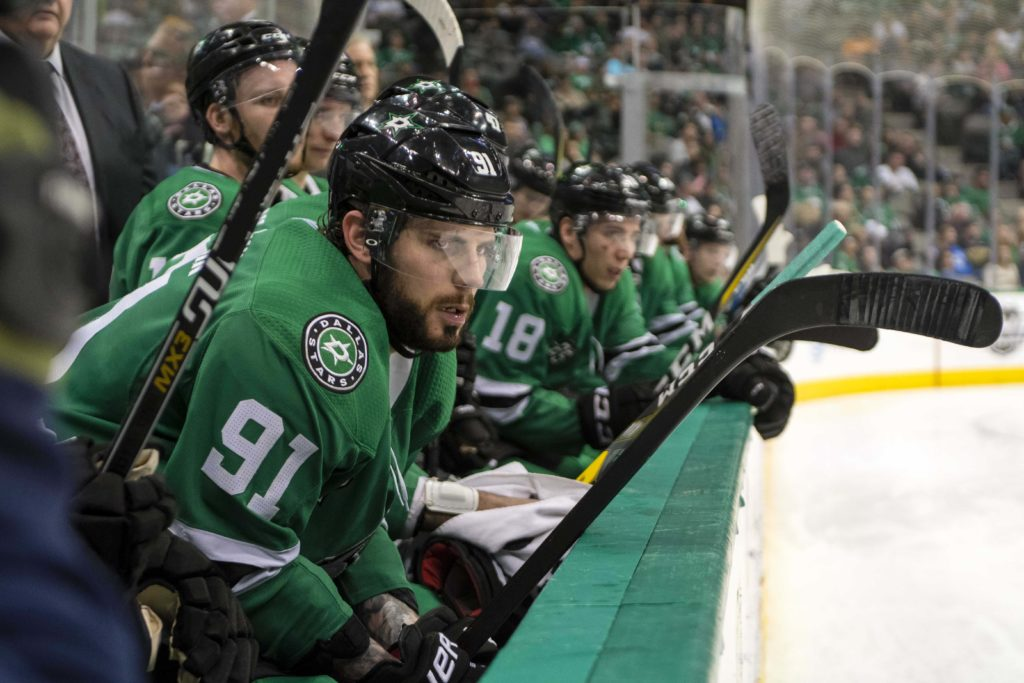 Mar 25, 2018; Dallas, TX, USA; Dallas Stars center Tyler Seguin (91) watches his team take on the Vancouver Canucks during the third period at the American Airlines Center. The Canucks defeat the Stars 4-1. Mandatory Credit: Jerome Miron-USA TODAY Sports