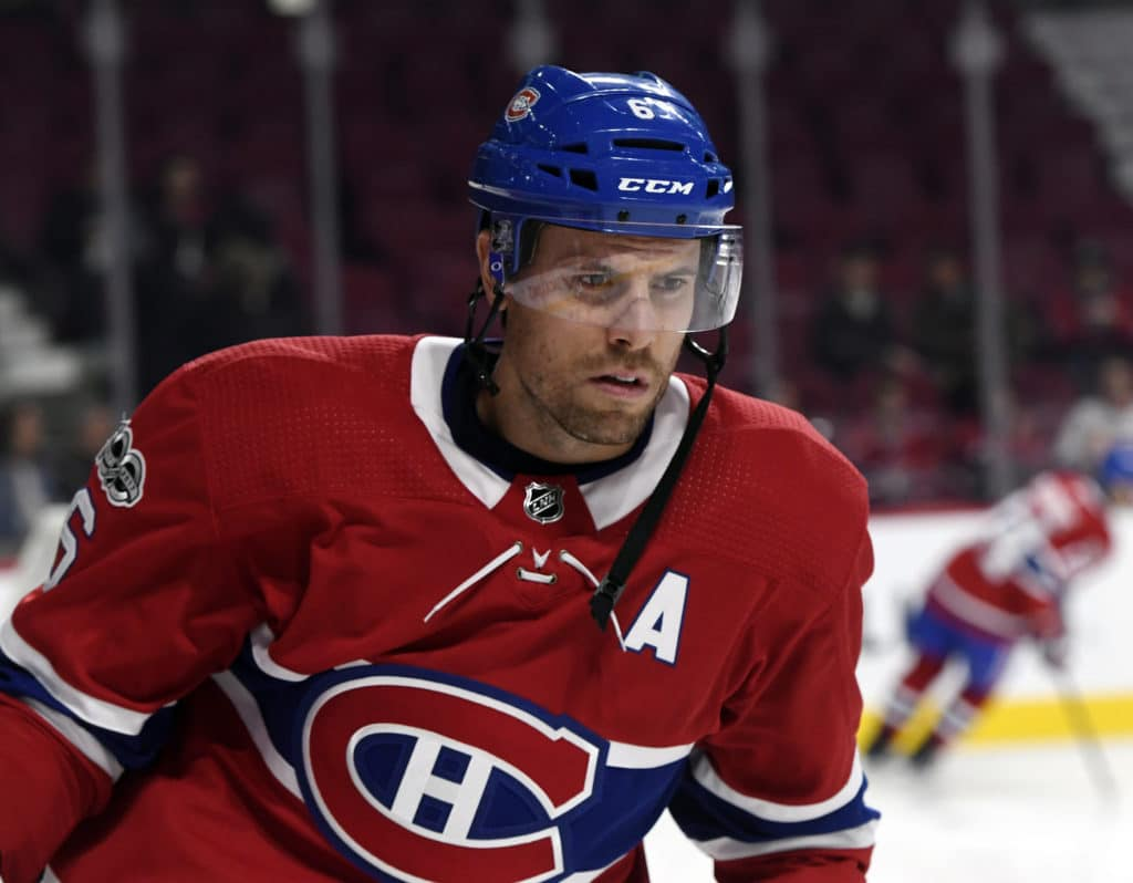 Oct 26, 2017; Montreal, Quebec, CAN; Montreal Canadiens defenseman Shea Weber (6) skates during the warmup period before the game against the Los Angeles Kings at the Bell Centre. Mandatory Credit: Eric Bolte-USA TODAY Sports