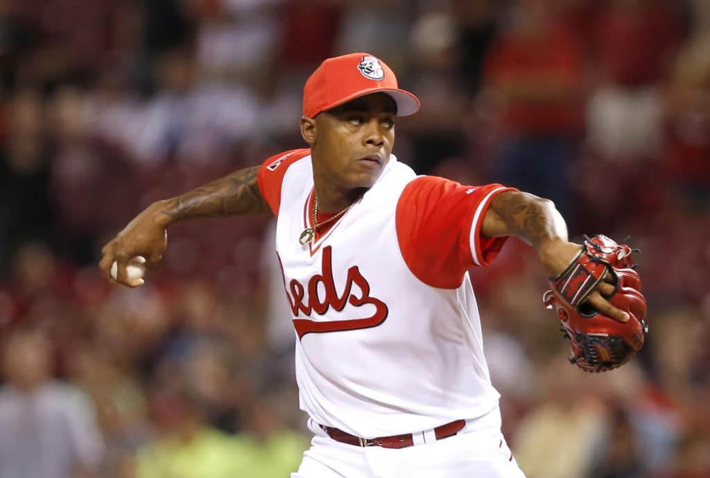 Aug 25, 2017; Cincinnati, OH, USA; Cincinnati Reds relief pitcher Raisel Iglesias throws against the Pittsburgh Pirates during the ninth inning at Great American Ball Park. Mandatory Credit: David Kohl-USA TODAY Sports