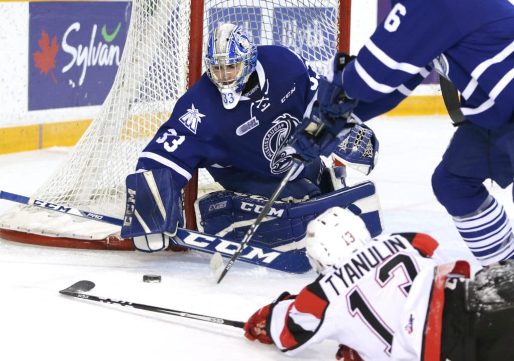 OTTAWA, ON - DECEMBER 04:  Matthew Mancina (33) of the Mississauga Steelheads fends off an Ottawa 67's attack in Ontario Hockey League (OHL) action at TD Place Stadium on in Ottawa, Canada on 4 December 2016. (Photo by Sean Burges / Icon Sportswire) (Icon Sportswire via AP Images)
