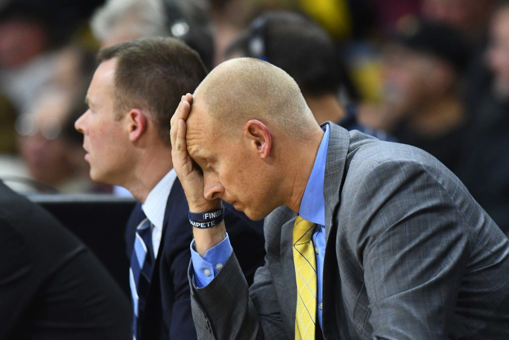 Dec 7, 2016; Boulder, CO, USA; Xavier Musketeers head coach Chris Mack reacts on the bench during the second half against the against the Colorado Buffaloes at the Coors Events Center. The Buffaloes defeated the Musketeers 68-66. Mandatory Credit: Ron Chenoy-USA TODAY Sports