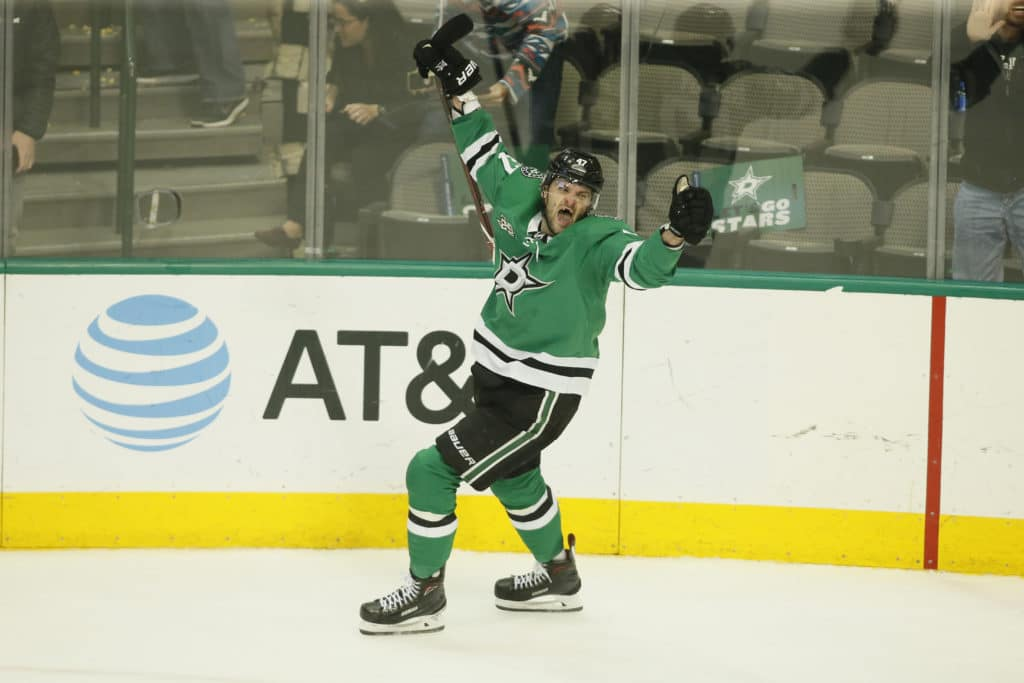 Mar 27, 2018; Dallas, TX, USA; Dallas Stars right wing Alexander Radulov (47) celebrates the game winning goal in overtime against the Philadelphia Flyers at American Airlines Center. Mandatory Credit: Tim Heitman-USA TODAY Sports