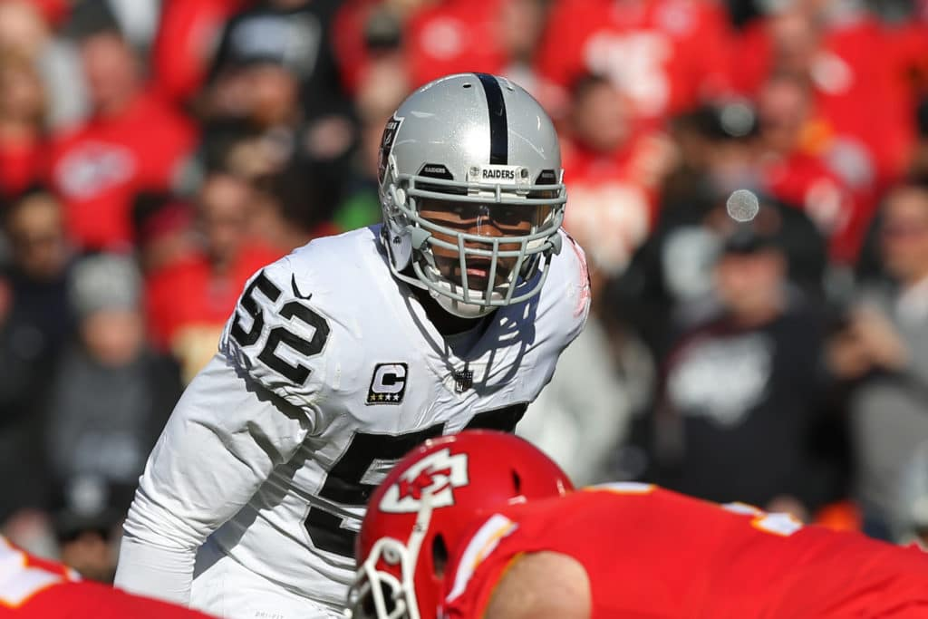 KANSAS CITY, MO - DECEMBER 10: Oakland Raiders defensive end Khalil Mack (52) before the snap in the second quarter of an AFC West showdown between the Oakland Raiders and Kansas City Chiefs on December 10, 2017 at Arrowhead Stadium in Kansas City, MO.  (Photo by Scott Winters/Icon Sportswire via Getty Images)