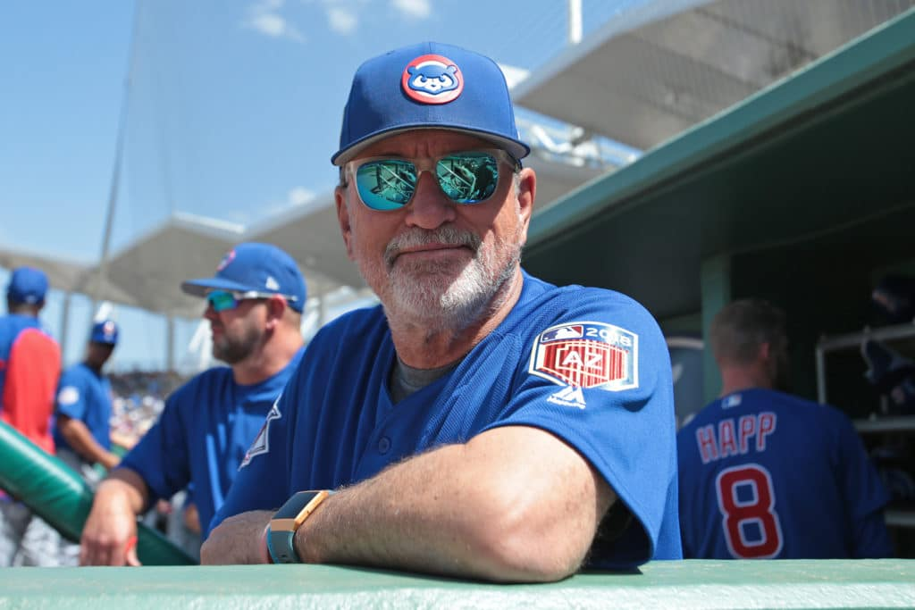 FORT MYERS, FL - MARCH 27: Manager Joe Maddon #70 of the Chicago Cubs looks on during game action against the Boston Red Sox during a spring training game at JetBlue Park on March 27, 2018 in Fort Myers, Florida. The Red Sox defeated the Cubs 4-2. (Photo by Joel Auerbach/Getty Images) *** Local Caption *** Joe Maddon