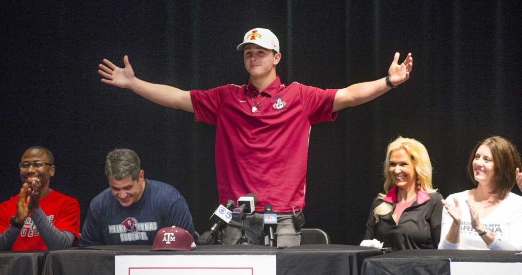 Feb. 7, 2018; Gilbert, AZ, USA; Brock Purdy announces that he will attend Iowa State University to play football. The announcement came during a press conference at Perry High School.Mandatory Credit: Tom Tingle/The Arizona Republic via USA TODAY NETWORK