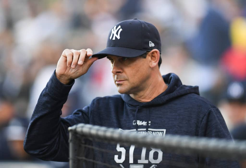 TAMPA, FL - MARCH 12:  Aaron Boone #17 of the New York Yankees before the game against the Minnesota Twins at George M. Steinbrenner Field on March 12, 2018 in Tampa, Florida. (Photo by B51/Mark Brown/Getty Images)
