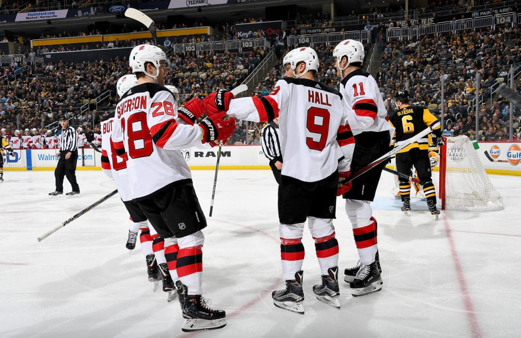 PITTSBURGH, PA - FEBRUARY 27:  Taylor Hall #9 of the New Jersey Devils celebrates after scoring in the second period against the Pittsburgh Penguins at PPG Paints Arena on February 27, 2018 in Pittsburgh, Pennsylvania.  (Photo by Joe Sargent/NHLI via Getty Images)