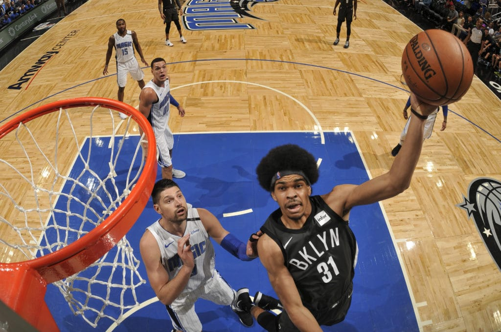 ORLANDO, FL - MARCH 28: Jarrett Allen #31 of the Brooklyn Nets shoots the ball against the Orlando Magic on March 28, 2018 at Amway Center in Orlando, Florida. NOTE TO USER: User expressly acknowledges and agrees that, by downloading and or using this photograph, User is consenting to the terms and conditions of the Getty Images License Agreement. Mandatory Copyright Notice: Copyright 2018 NBAE (Photo by Fernando Medina/NBAE via Getty Images)