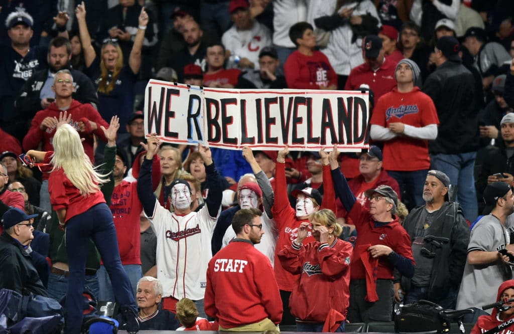 Oct 11, 2017; Cleveland, OH, USA; Cleveland Indians fans hold a sign during game five of the 2017 ALDS playoff baseball series against the New York Yankees at Progressive Field. Mandatory Credit: Ken Blaze-USA TODAY Sports
