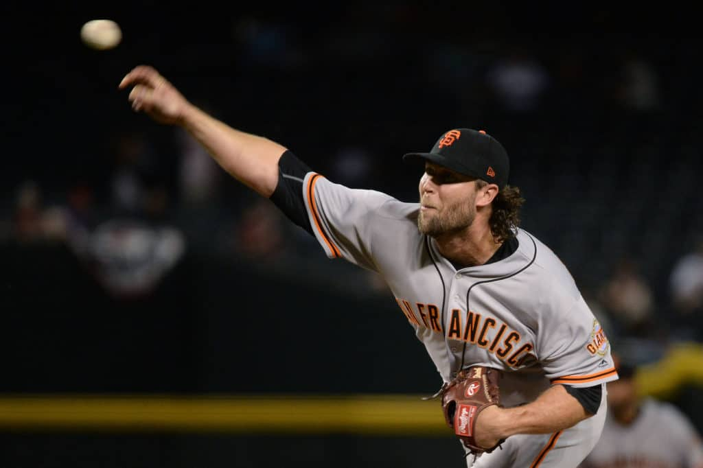 PHOENIX, AZ - APRIL 06:  Hunter Strickland #60 of the San Francisco Giants delivers delivers a pitch against the Arizona Diamondbacks at Chase Field on April 6, 2017 in Phoenix, Arizona. The Arizona Diamondbacks won 9-3.  (Photo by Jennifer Stewart/Getty Images)
