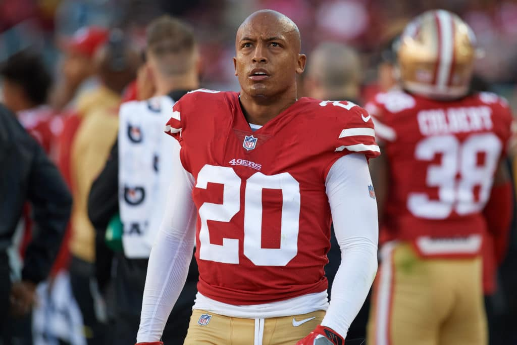 SANTA CLARA, CA - NOVEMBER 05:  San Francisco 49ers defensive back Leon Hall (20) looks on during an NFL game between the Arizona Cardinals and the San Francisco 49ers on November 5, 2017 at Levi's Stadium in Santa Clara, CA. (Photo by Robin Alam/Icon Sportswire via Getty Images)