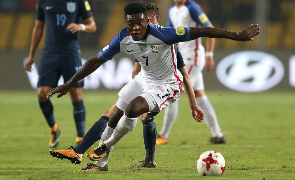 GOA, INDIA - OCTOBER 21:  Ayo Akinola of United States of America competes for the ball during the FIFA U-17 World Cup India 2017  Quarter Final match between USA and England at Pandit Jawaharlal Nehru Stadium on October 21, 2017 in Goa, India.  (Photo by Jan Kruger - FIFA/FIFA via Getty Images)