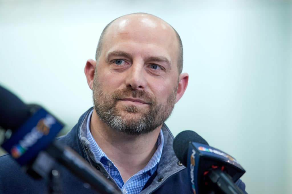 INDIANAPOLIS, IN - FEBRUARY 28: Chicago Bears head coach Matt Nagy answers questions from the media during the NFL Scouting Combine on February 28, 2018 at Lucas Oil Stadium in Indianapolis, IN. (Photo by Robin Alam/Icon Sportswire via Getty Images)