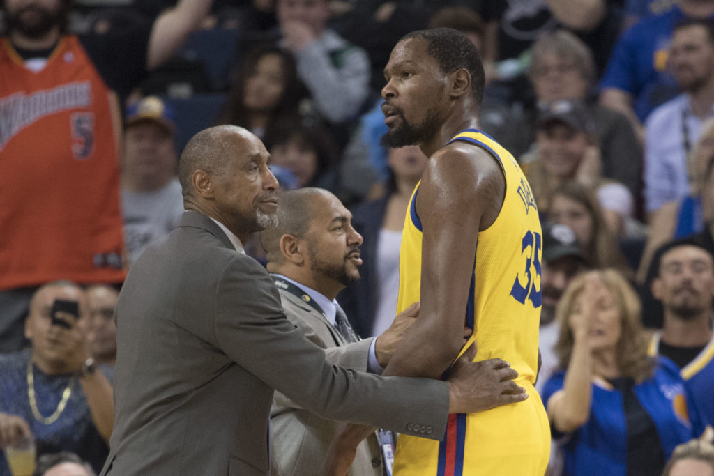 March 29, 2018; Oakland, CA, USA; Golden State Warriors forward Kevin Durant (35) reacts after being ejected against the Milwaukee Bucks during the second quarter at Oracle Arena. Mandatory Credit: Kyle Terada-USA TODAY Sports