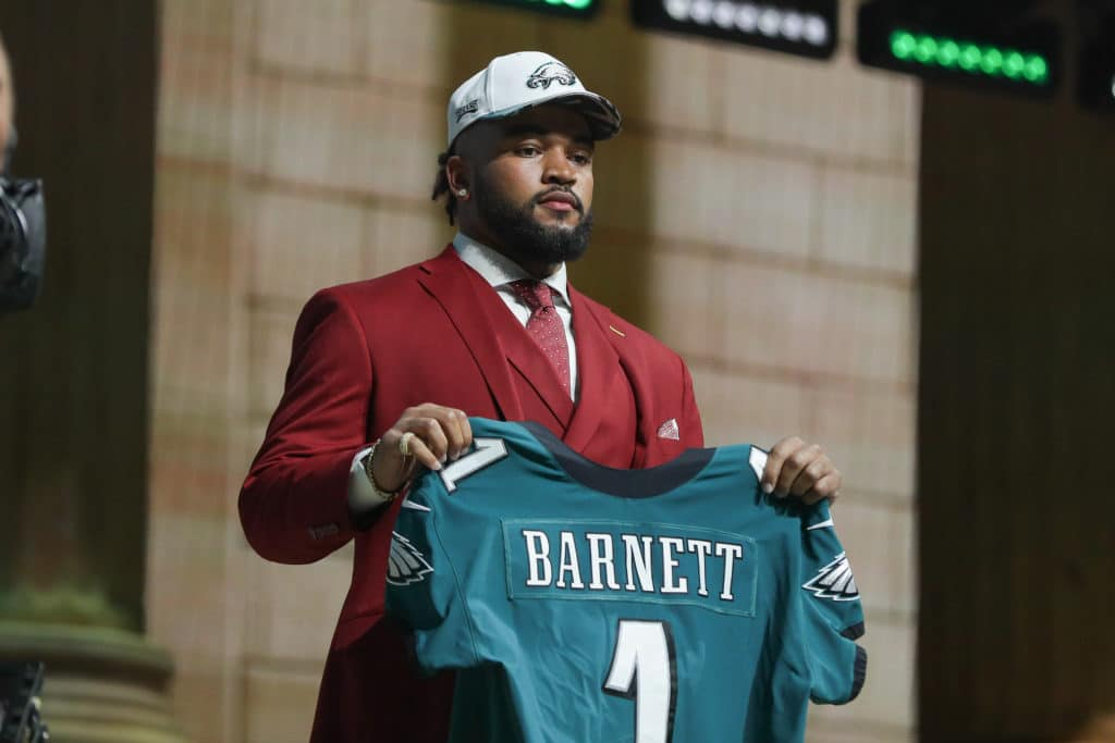 PHILADELPHIA, PA - APRIL 27:  The Philadelphia Eagles select Derek Barnett from Tennessee with the 14th pick at the 2017 NFL Draft at the NFL Draft Theater  on April 27, 2017 in Philadelphia, PA.  (Photo by Rich Graessle/Icon Sportswire via Getty Images)