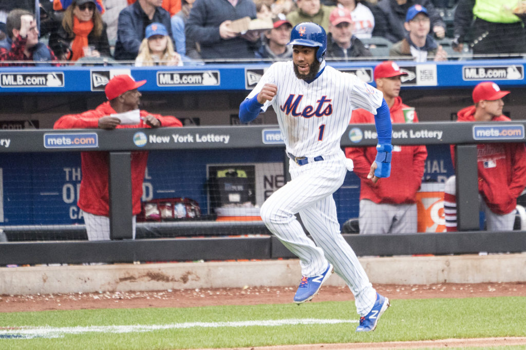 Mar 29, 2018; New York City, NY, USA; New York Mets shortstop Amed Rosario (1) scores a run on New York Mets left Fielder Yoenis Cespedes  (not pictured) rbi single during the 5th inning of the game on opening day at Citi Field. Mandatory Credit: Gregory J. Fisher-USA TODAY Sports