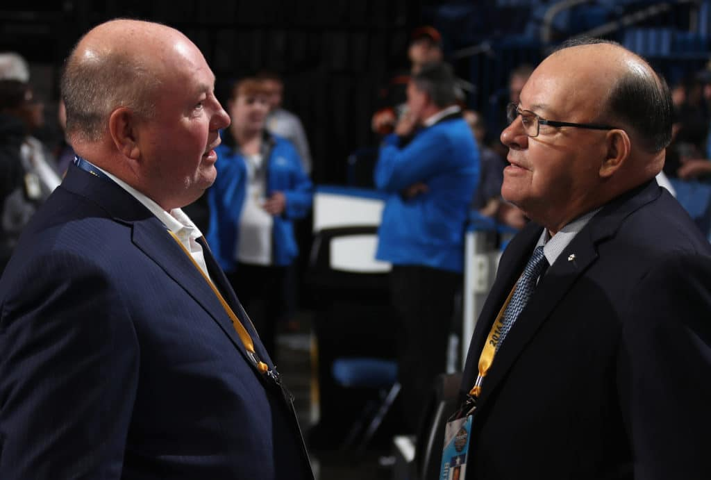 BUFFALO, NY - JUNE 25:  Head Coach Bruce Boudreau of the Minnesota Wild and Scotty Bowman of the Chicago Blackhawks look on during the 2016 NHL Draft at First Niagara Center on June 25, 2016 in Buffalo, New York.  (Photo by Dave Sandford/NHLI via Getty Images)