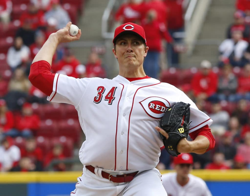 Mar 30, 2018; Cincinnati, OH, USA; Cincinnati Reds starting pitcher Homer Bailey throws against the Washington Nationals in the first inning at Great American Ball Park. Mandatory Credit: David Kohl-USA TODAY Sports
