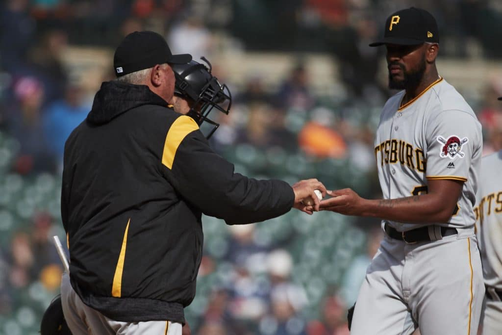 Mar 30, 2018; Detroit, MI, USA; Pittsburgh Pirates manager Clint Hurdle (13) takes the ball to relieve relief pitcher Felipe Rivero (73) in the ninth inning against the Detroit Tigers at Comerica Park. Mandatory Credit: Rick Osentoski-USA TODAY Sports