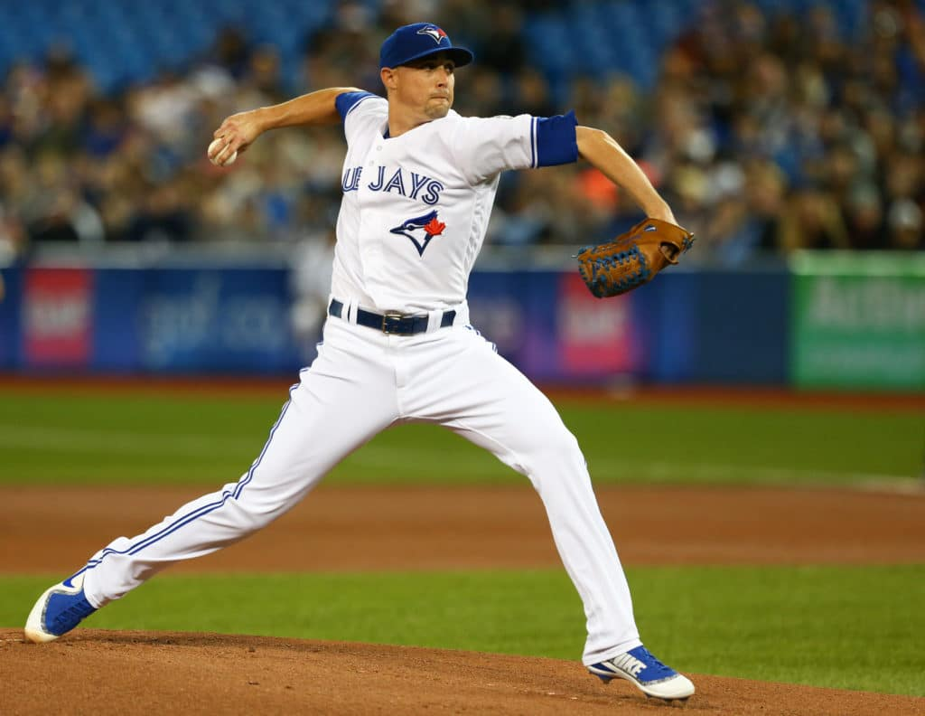 Mar 30, 2018; Toronto, Ontario, CAN; Toronto Blue Jays starting pitcher Aaron Sanchez (41) delivers a pitch against the New York Yankees during the first inning at Rogers Centre. Mandatory Credit: Kevin Sousa-USA TODAY Sports