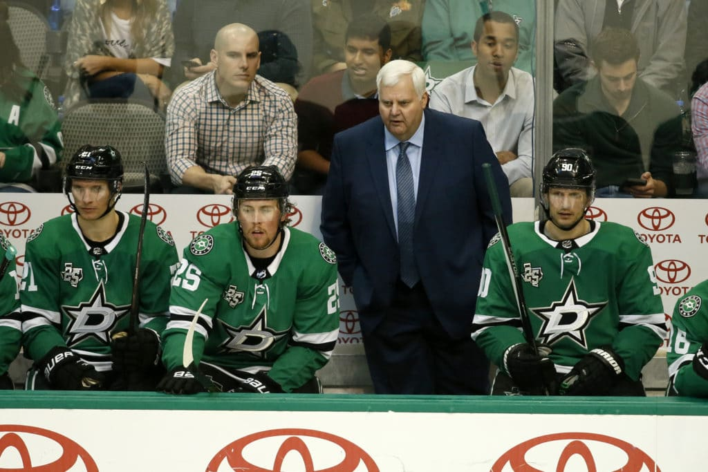 Mar 27, 2018; Dallas, TX, USA; Dallas Stars head coach Ken Hitchcock watches play during the third period against the Philadelphia Flyers at American Airlines Center. Mandatory Credit: Tim Heitman-USA TODAY Sports