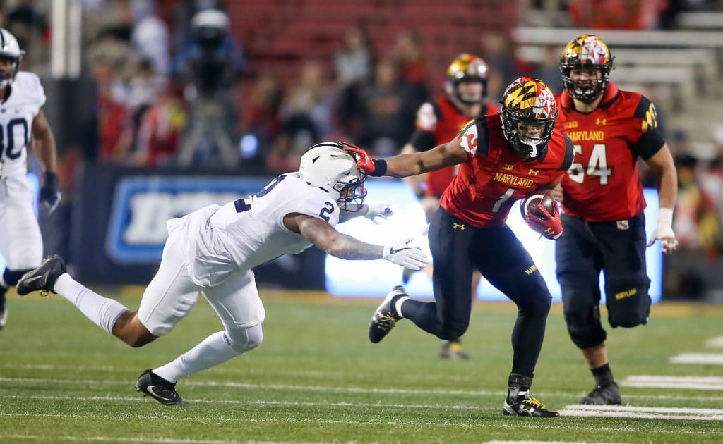 COLLEGE PARK, MD - NOVEMBER 25: Maryland Terrapins wide receiver D.J. Moore (1) races away from Penn State Nittany Lions safety Marcus Allen (2) during a men's college football game between the Maryland Terrapins and the Penn State Nittany Lions on November 25, 2017, at Capital One Field at Maryland Stadium in College Park, Maryland. Penn State defeated Maryland 66-3. (Photo by Tony Quinn/Icon Sportswire via Getty Images)