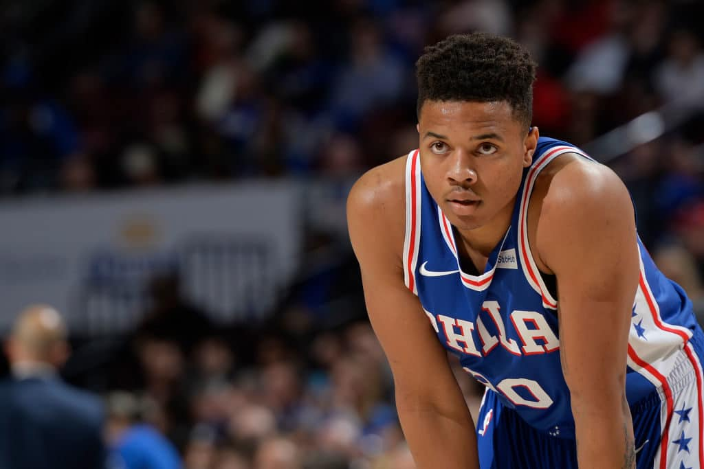 PHILADELPHIA, PA - MARCH 28: Markelle Fultz #20 of the Philadelphia 76ers looks on during the game against the New York Knicks on March 28, 2018 at the Wells Fargo Center in Philadelphia, Pennsylvania. NOTE TO USER: User expressly acknowledges and agrees that, by downloading and/or using this photograph, user is consenting to the terms and conditions of the Getty Images License Agreement. Mandatory Copyright Notice: Copyright 2018 NBAE (Photo by David Dow/NBAE via Getty Images)