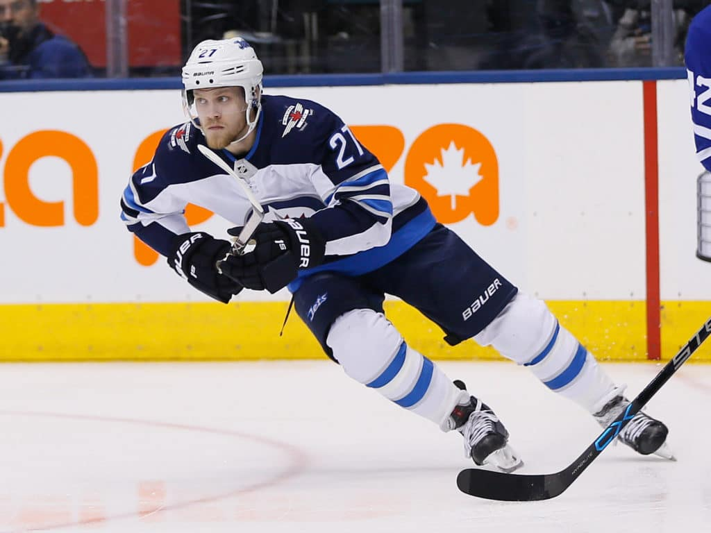 Mar 31, 2018; Toronto, Ontario, CAN; Winnipeg Jets forward Nikolaj Ehlers (27) skates against the Toronto Maple Leafs at the Air Canada Centre. Mandatory Credit: John E. Sokolowski-USA TODAY Sports