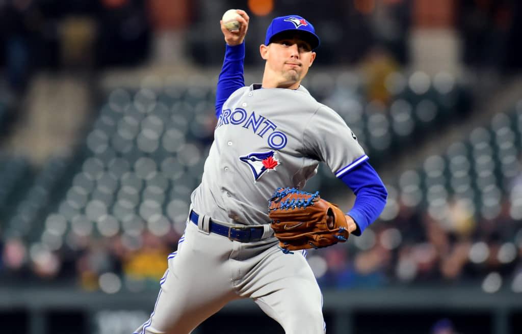 Jays' Aaron Sanchez flirts with no-no, gets win on Granderson homer