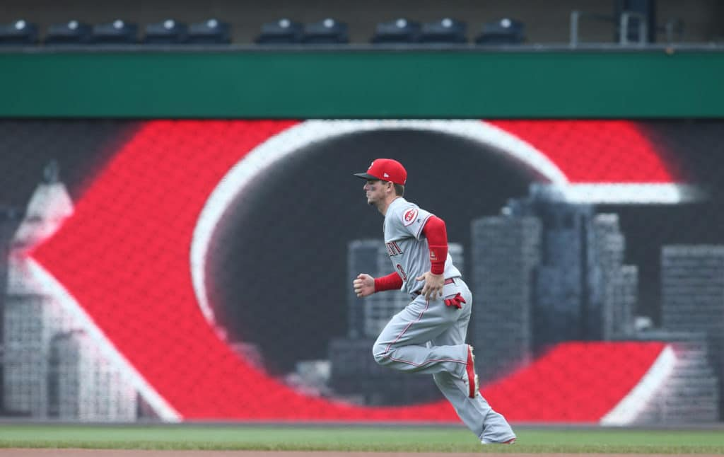Apr 8, 2018; Pittsburgh, PA, USA;  Cincinnati Reds second baseman Scooter Gennett (3) warms up before playing the Pittsburgh Pirates at PNC Park. The Pirates won 5-0. Mandatory Credit: Charles LeClaire-USA TODAY Sports